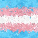 Trans Flag Action Painting - Messy Grunge by Garyck Arntzen