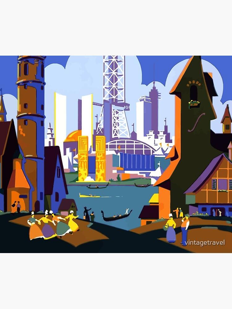 Weinlese-Reise-Plakat der Weltausstellung-Chicago 1934 von vintagetravel