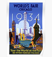 World's Fair Chicago 1934 Vintage Travel Poster Poster