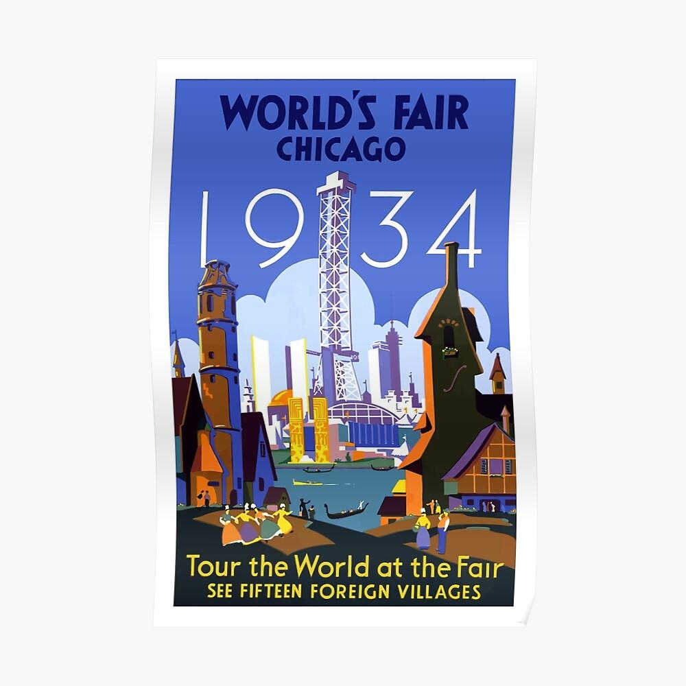 Weinlese-Reise-Plakat der Weltausstellung-Chicago 1934 Poster