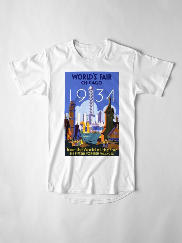 Alternative Ansicht von Weinlese-Reise-Plakat der Weltausstellung-Chicago 1934 Longshirt