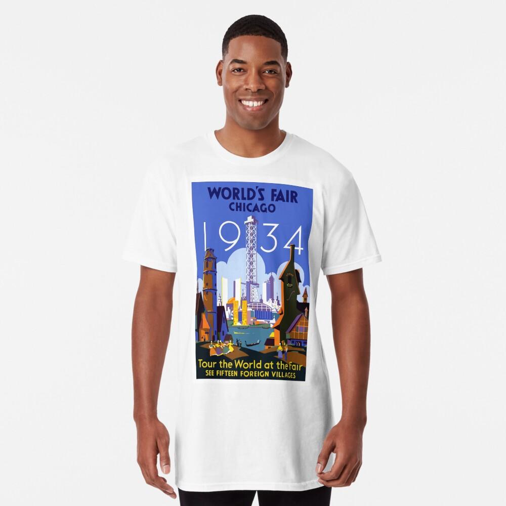 Weinlese-Reise-Plakat der Weltausstellung-Chicago 1934 Longshirt