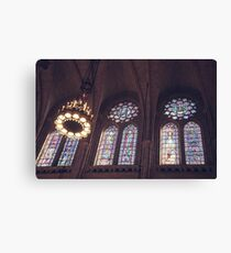 Sunlight Streaming Through Stained Glass Canvas Print