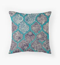 Moroccan Floral Lattice Arrangement - teal  Throw Pillow
