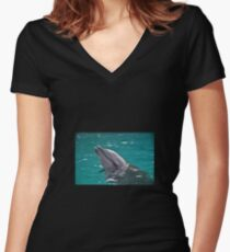 Dolphin Women's Fitted V-Neck T-Shirt
