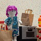 Purple haired rag doll in the kitchen by vannaweb