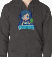 Sudadera con capucha y cremallera Manga de pelo azul Funneh