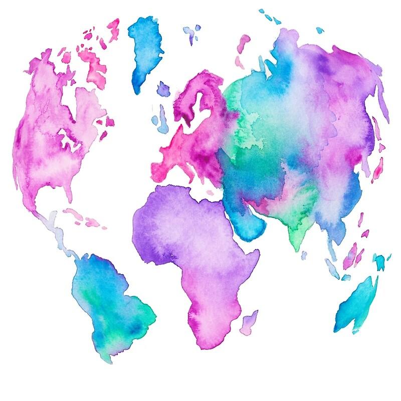 Modern World Map Globe Bright Watercolor Paint Mini Skirts By - Modern world map