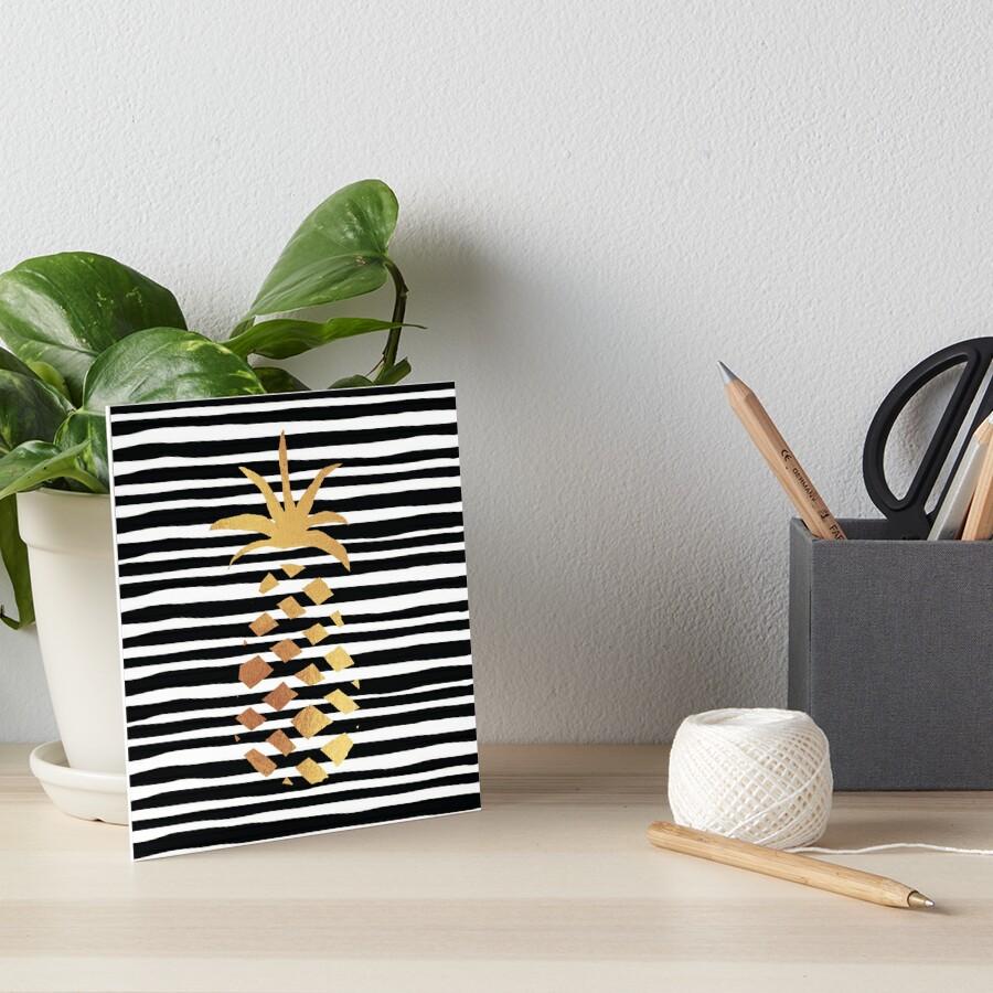 Gold Pineapple-B&W Art Board Print