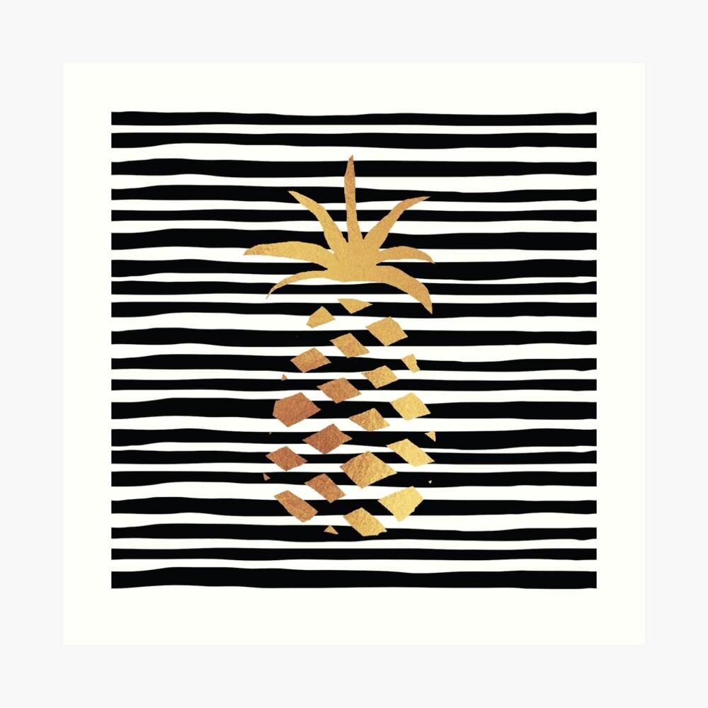 Gold Pineapple-B&W Art Print
