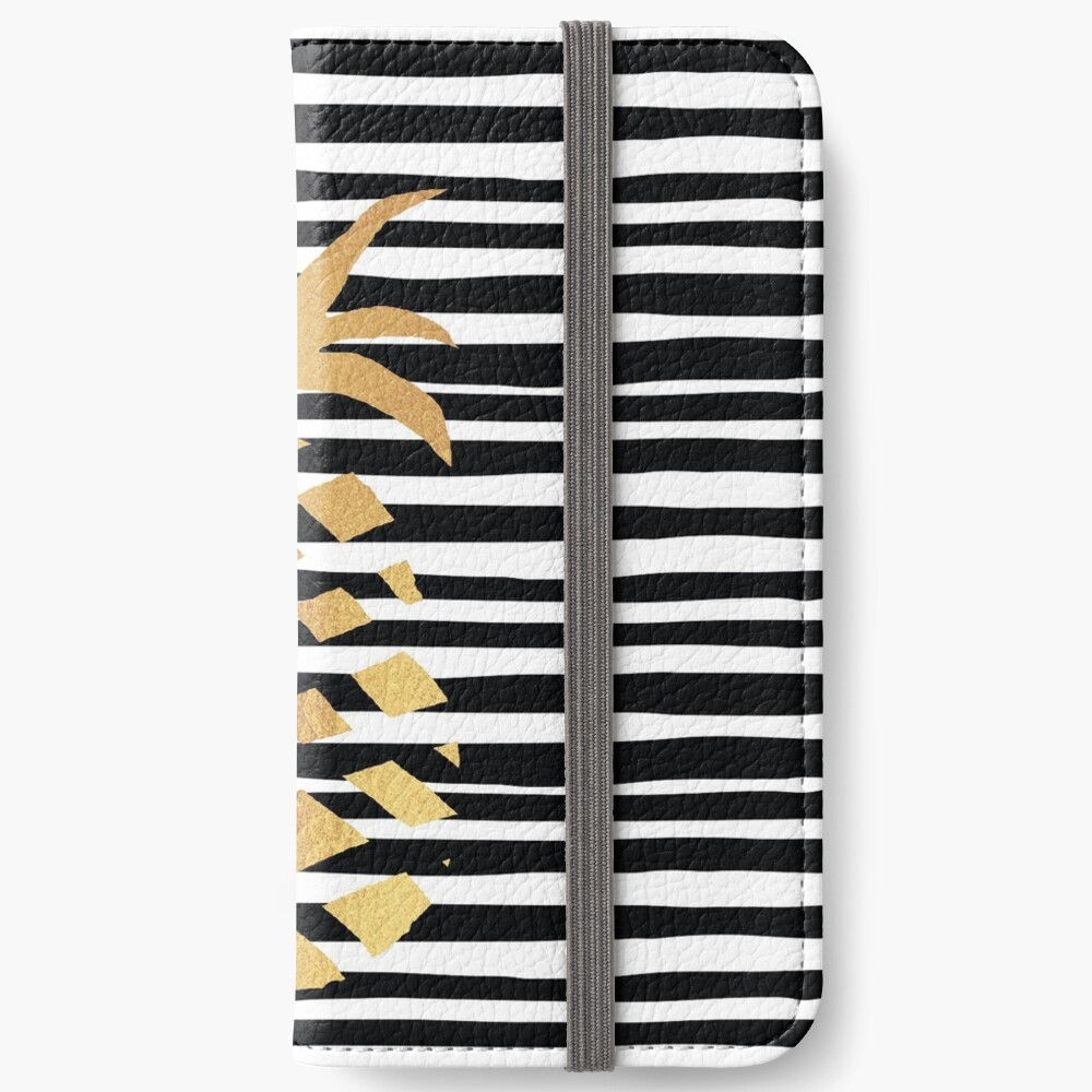 Gold Pineapple-B&W iPhone Wallet