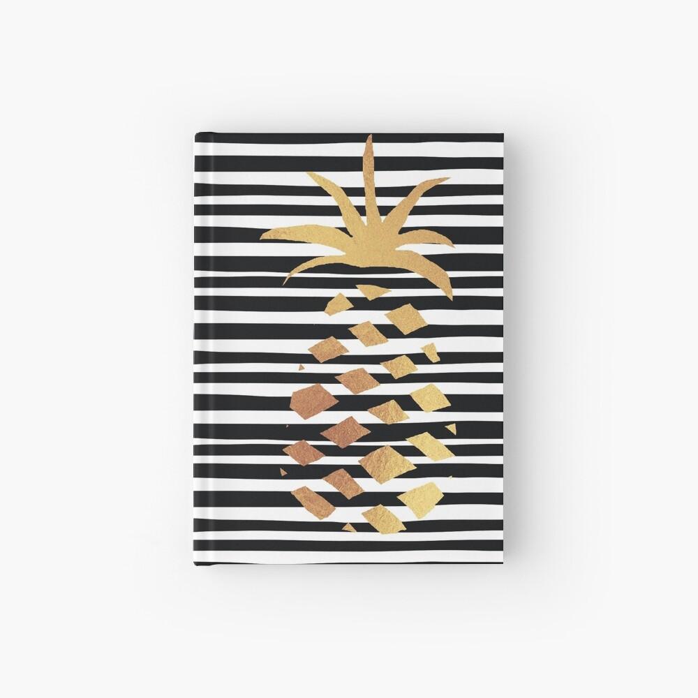 Gold Pineapple-B&W Hardcover Journal