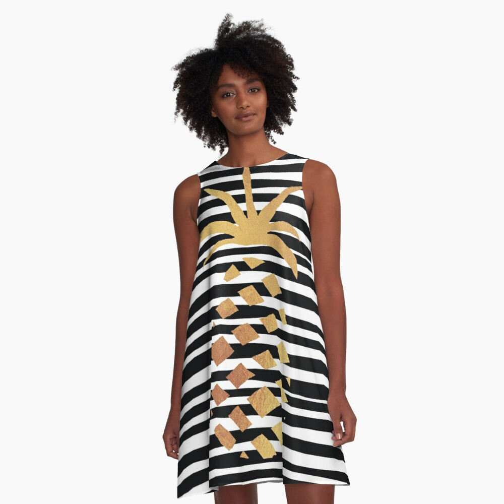Gold Pineapple-B&W A-Line Dress