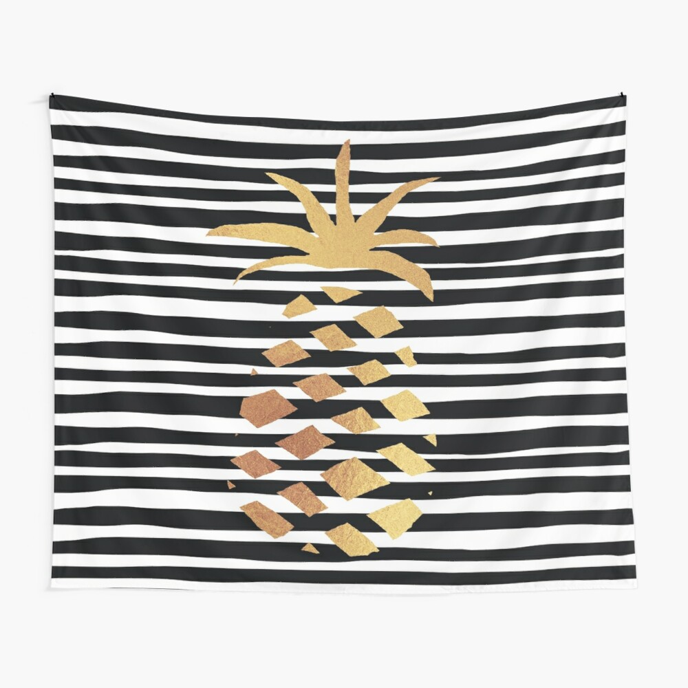 Gold Pineapple-B&W Wall Tapestry