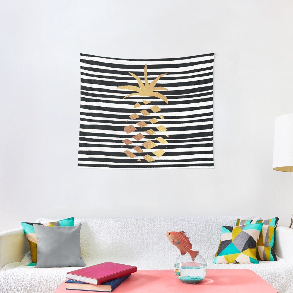 Gold Pineapple-B&W Tapestry