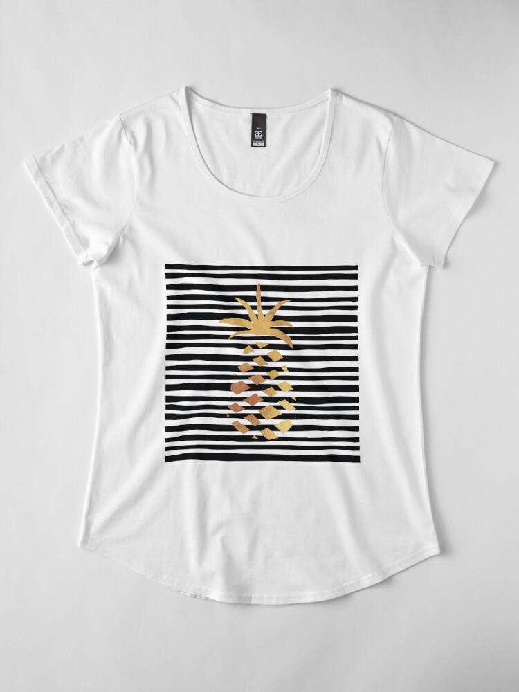 Alternate view of Gold Pineapple-B&W Premium Scoop T-Shirt