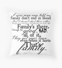 Family Don't End in Blood Throw Pillow