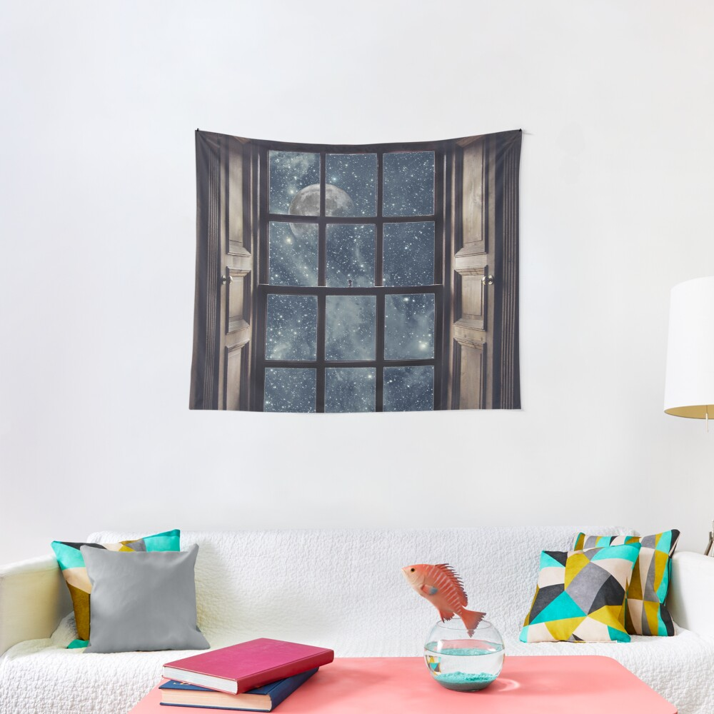 Space view Window-Moon shine Tapestry