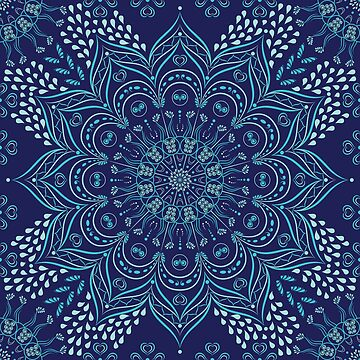 Navy blue and teal mandala pattern by Eng-Sun