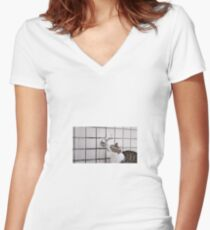 Cat drinking from a tap Women's Fitted V-Neck T-Shirt