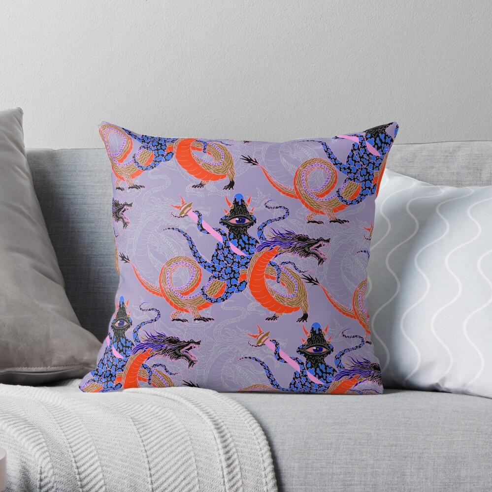 Japanese Water Dragon 虬竜 Throw Pillow