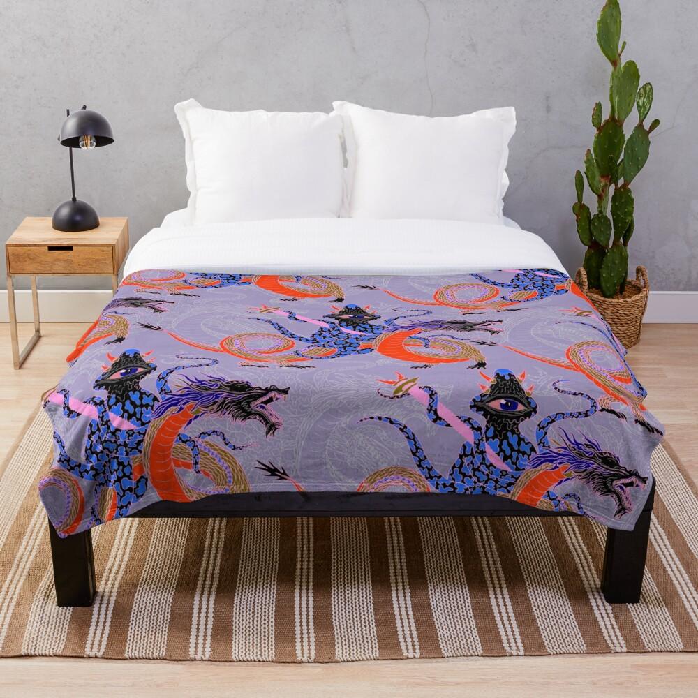 Japanese Water Dragon 虬竜 Throw Blanket
