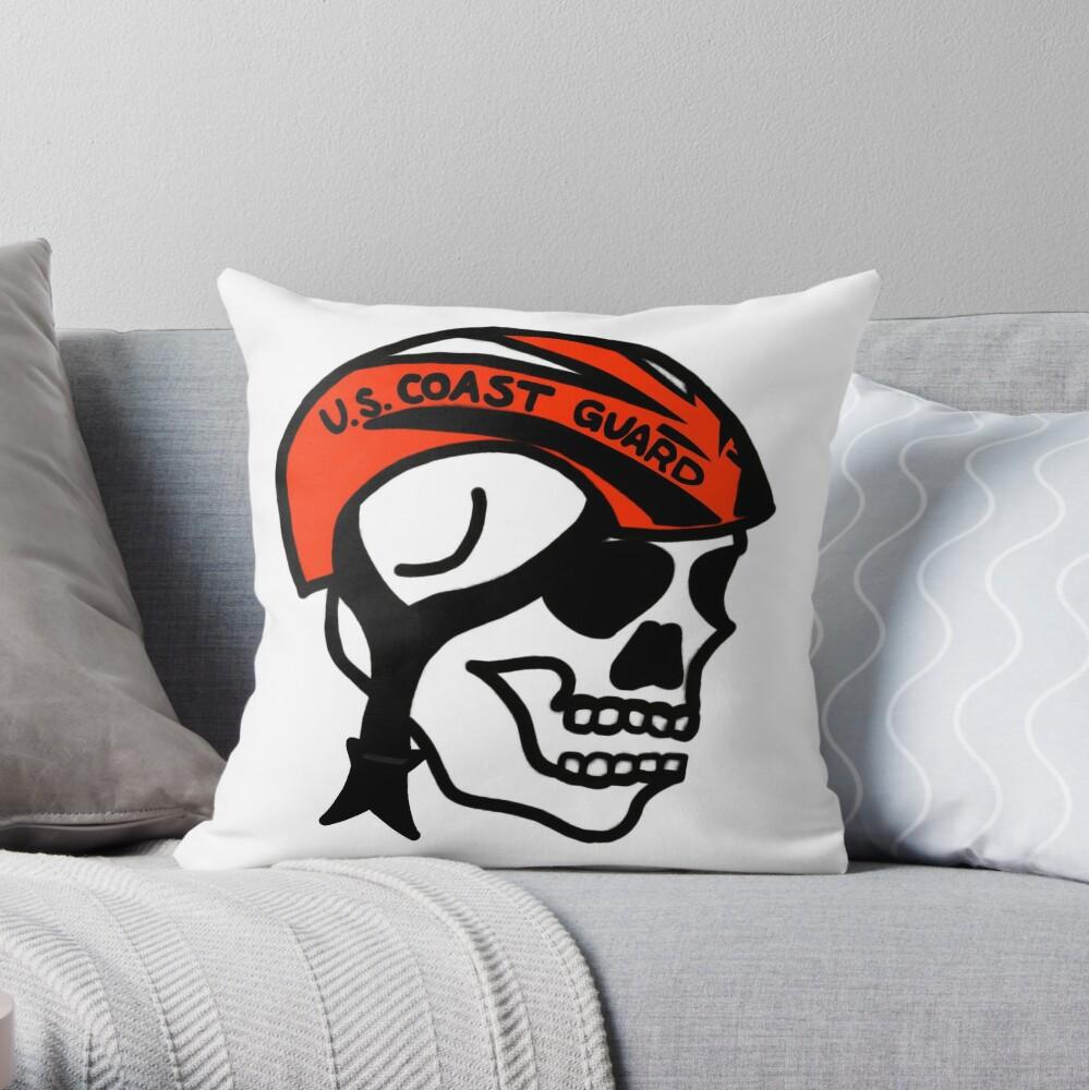 Coast Guard Skulls - Boat Crew Helmet Throw Pillow