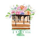 Watercolor Floral Birthday Chocolate Cake by daphsam