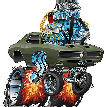 Classic American Muscle Car Hot Rod Cartoon Vector Illustration by hobrath