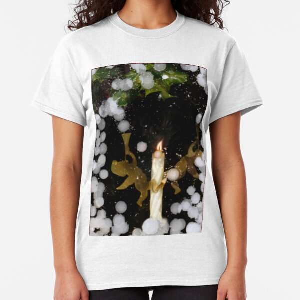 Angel Snow Candle with Holly Classic T-Shirt