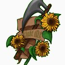 Fight Me! Axe & Sunflowers by NonDecafArt