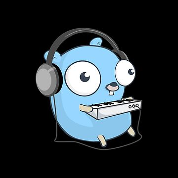 The Golang Mascot: Music (Black Edition) by hellkni9ht