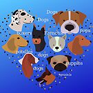 Dogs in a heart shaped pattern on a blue background  by Angie Stimson
