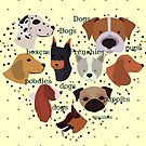 polka dots dogs, french bulldogs, poodles, pugs and boxers by Angie Stimson