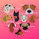 dogs, french bulldogs, poodles, pugs and boxers with pink background  by Angie Stimson