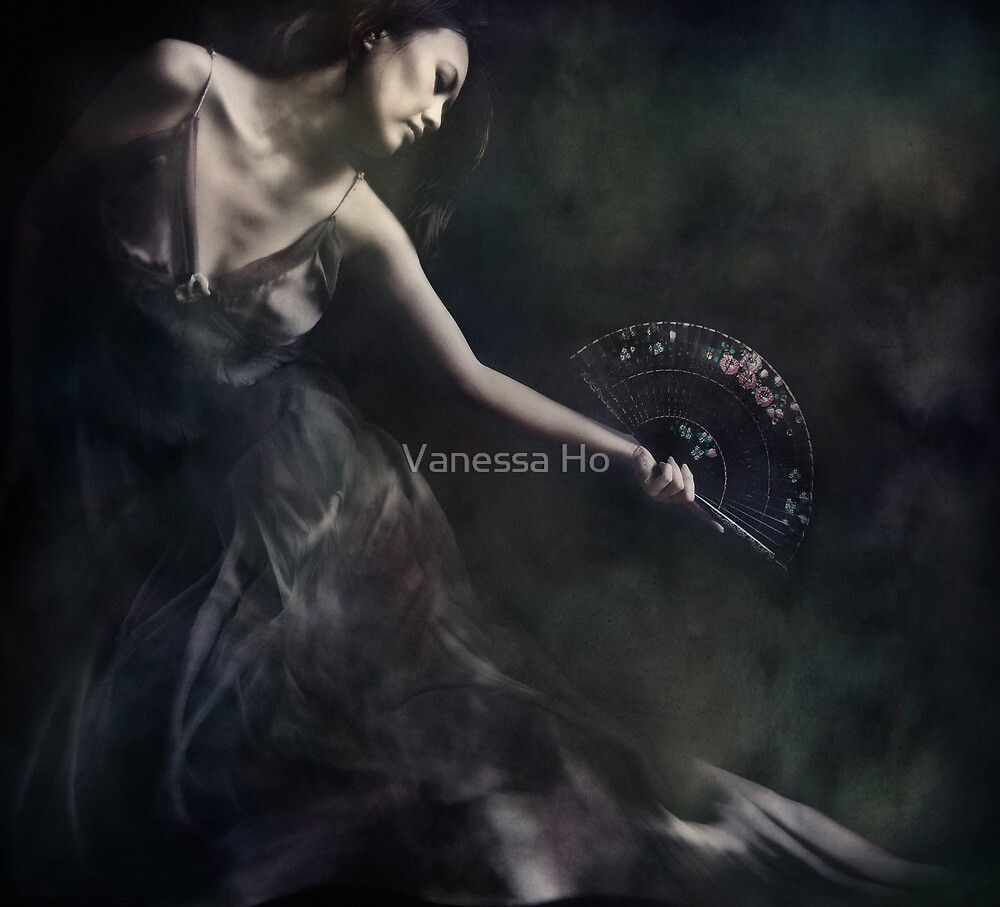 self portrait with fan by Vanessa Ho