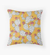 Coral Flowering Cactus on Mustard Yellow Throw Pillow