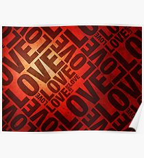 Love Letters on Red Poster