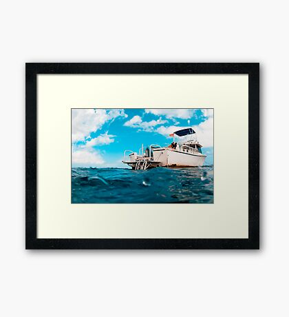Crossed processed dive boat Framed Print
