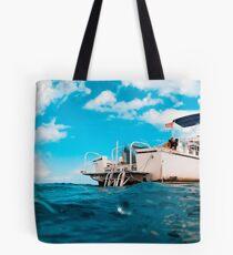 Crossed processed dive boat Tote Bag