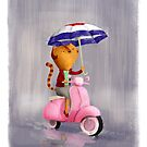 Classy Kitty Cat on pink scooter by colonelle