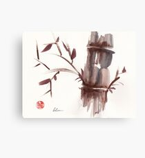 'Listen'  original ink wash sumi-e bamboo painting Canvas Print