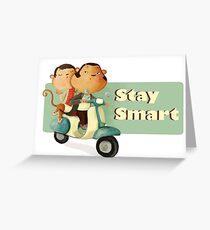 Stay Smart Scooter Monkeys Greeting Card