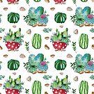 Aquarell Kaktus Blumenmuster von Tasha-zen