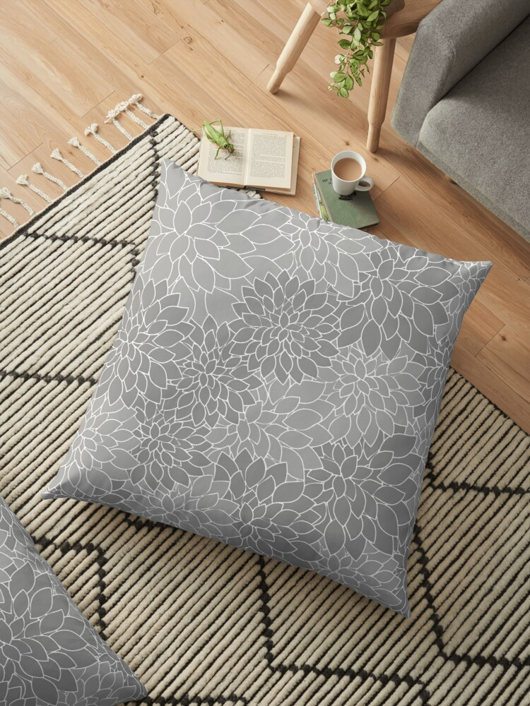 c5b0ba468f2a Cojines de suelo «Patrón de pétalos de flor de dalia gris» de ...