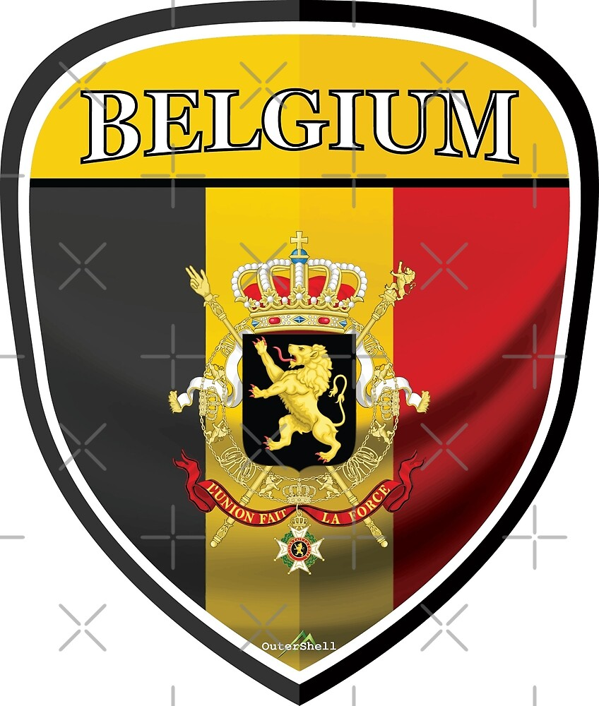 BELGIUM Belgique Belgian Shield Sticker by OuterShellUK