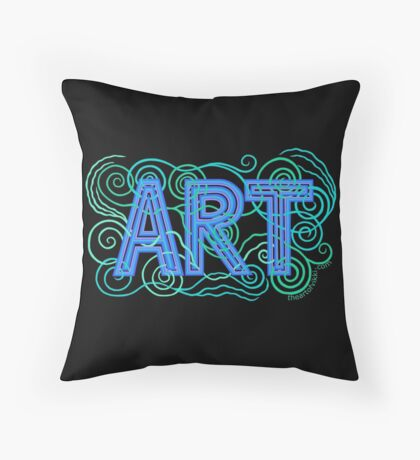 ART In Peacock Colors Hand Drawn Design Throw Pillow