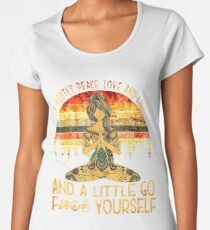 Yoga Tattoo Women - I'm Mostly Peace Love And Light Women's Premium T-Shirt