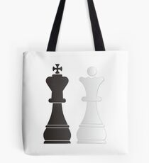 Black king white queen chess pieces Tote Bag
