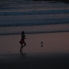 Before Sunrise Woolgoolga Beach jogger  by Virginia McGowan